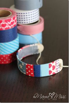 Patriotic Washi Tape Wooden Bracelets - maybe a girl scout idea @Carrie McNair