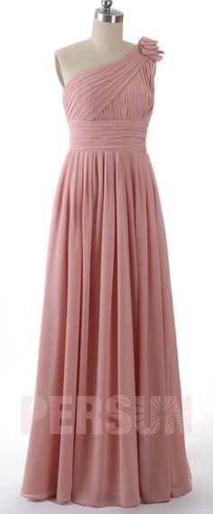 Robe de soirée rose asymétrique longue pour mariage