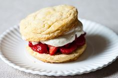 James Beard's Strawberry Shortcakes, biscuits made with hard-boiled egg yolks.