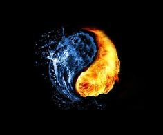 This water and fire background shown in a yin yang shape is very creative. It shows the opposite of yin and yang, and also the opposites of fire and water. Arte Yin Yang, Ying Y Yang, Yin Yang Art, Ying Yang Wallpaper, Black Wallpaper, Jin Y Jan, Yen Yang, Iphone 6 Wallpaper Backgrounds, Hd Desktop