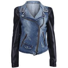 Leather Sleeve Blue Denim Coat (79,305 KRW) ❤ liked on Polyvore featuring outerwear, coats, jackets, tops, long sleeve coat, denim coat, faux coat, reversible coats and blue coat