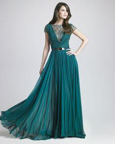 Elie Saab Lattice Chiffon Gown in Green (forest) - Lyst