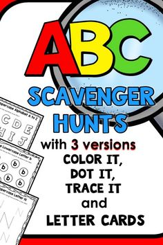 Teach the alphabet with fun alphabet printables full if I Spy Scavenger Letter Hunts for preschoolers and kindergarteners. So many uses for these ABC games! Preschool Teacher Tips, Preschool Reading Activities, Preschool Scavenger Hunt, Preschool Literacy, Preschool Lesson Plans, Preschool At Home, Literacy Skills, Alphabet Activities, Early Literacy