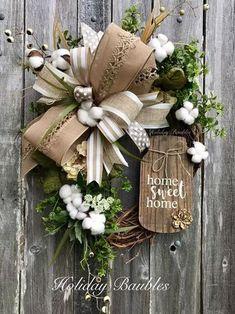 Sweet Home Wreath, Mason Jar Wreath, Farmhouse Cotton Wreath, Everyday Wreath, Home Sweet Home Grapevine Home Sweet Home Wreath Mason Jar Wreath Farmhouse CottonHome Sweet Home Wreath Mason Jar Wreath Farmhouse Cotton Wreath Crafts, Diy Wreath, Wreath Ideas, Burlap Wreaths, Rustic Wreaths, Tulle Wreath, Floral Wreaths, Mesh Wreaths, Grapevine Wreath