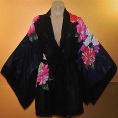 Victoria's Secret Robe Kimono Chiffon black Flower OS  #VictoriasSecret #Robes