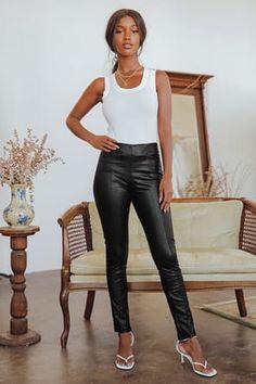 Chic Black Leggings - Vegan Leather Leggings - Cropped Leggings - Lulus High Waisted Leather Leggings, Leather Pants, Band Tees, Cozy Sweaters, Skinny Pants, Rock Music, Black Leggings, Vegan Leather, Elastic Waist