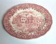 Ravensdale Pottery LTD Platter Plate Pink Staffordshire England Village Vintage