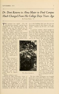 "The Ohio Alumnus, November 1930 ""Dr. Dent Returns to Alma Mater to Find Campus Much Changed From His College Days Years Ago. The sycamore tree sighed. 'Yes, the old school has changed,' and the leaves whispered to the gray-haired man, 'Remember when you first planted me, 42 years ago?' Dr. Elmer A. Dent, '88, Ohio University graduate, remembered."" :: Ohio University Archives"