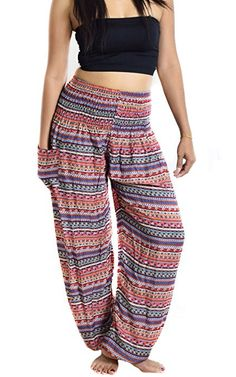 cf2f566ae667c Lanna Lanna Thai Harem Trousers / Harem Pants - Yoga, Festival & Boho Hippy  / Aladdin Style with Peacock Feather, Elephant & Stripe Designs (Big Blue  ...