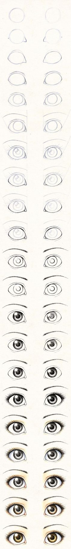 For future reference . . . eyes and portrait visual step-by-step (drawing/coloring)