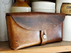 vintage Swiss ammo pouch leather with belt loops
