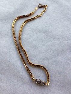 Vintage Christian Dior Germany Signed Gold Toned Rhinestone Pendant Nevklace | eBay