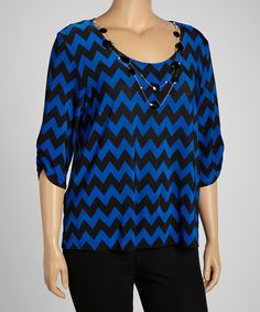 Look at this Royal & Black Zigzag Three-Quarter Sleeve Top & Necklace - Plus on #zulily today!