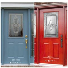 Festive Red or Wedgewood Blue? Our many styles of custom front doors from HMI Doors!