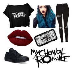 """""""My chemical romance"""" by gervaise-kelly on Polyvore featuring Topshop, Converse, Lime Crime and Samsung"""