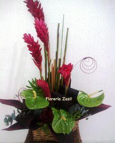 Florería en Cancún. Arreglo tropical con hawaianas y anturios, ideal para caballero. Florería Zazil en Cancún con servicio a domicilio.  Modelos y precios: www.floreriazazil.com Pedidos: ventas@flreriazazil.com