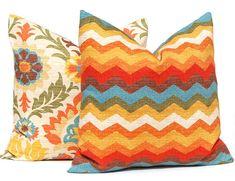 Pillow, Toss Pillow, Decorative Throw Pillow Covers Pair of Two Waverly Santa Maria Adobe Panama Wave Adobe Chevron Pillows Orange Turquois