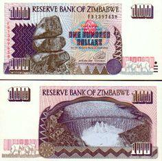 Zimbabwe 100 Dollars 1995 (Re Matapos Rocks, Kariba Dam) Money Notes, 100 Dollar, African Animals, Zimbabwe, People Of The World, Your Favorite, Crafts, Money, Pasulj