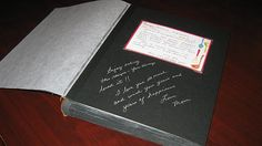 Cool guestbook for a bridal shower... Guests were asked to bring a recipe card (provided w/invitation) for their favorite 5-ingredient recipe. They put them in the guestbook and added messages underneath!
