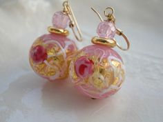 Opulent Pink Venetian Murano Earrings £26.00