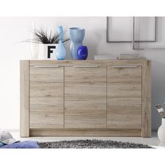 Cougar Wooden Sideboard In Oak With 3 Doors - Sideboards, Modern & Contemporary Buffets, Furnitureinfashion UK White Drawers, Wood Drawers, Chest Of Drawers, Narrow Sideboard, Sideboard Cabinet, Side Board, Home Design, Wall Design, Sideboards For Sale