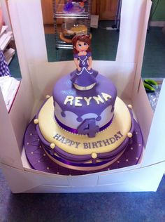 Sofia the first birthday cake minus Sofia on top..just the 2 tiers