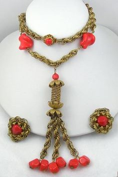 Miriam Haskell Tassel Necklace Set - Garden Party Collection Vintage Jewelry