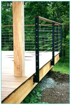 50 Gorgeous Gabion Fence Design for Garden Ideas – Decoradeas This is almost exactly what I had in mind for your railing. Mounted outside the deck edge. Fence Around Pool, Pool Fence, Backyard Fences, Yard Fencing, Front Yard Fence, Fenced In Yard, Fence Gate, Cedar Fence, Bamboo Fence