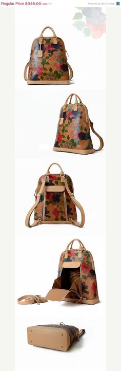 BLACK FRIDAY SALE Floral Print Leather Backpack-Large Cool Women Carryall Bag- Stylish Designer Custom Backpacks-Best Quality and Free Retur