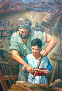 Joseph teaching Jesus his trade. Father and son carpentry team! Christian Paintings, Christian Artwork, Christian Images, Pictures Of Christ, Bible Pictures, Religious Pictures, Catholic Art, Catholic Saints, Religious Art