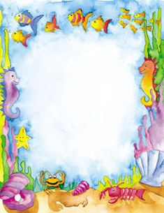 Fazendo a Minha Festa Infantil: Imagens Pequena Sereia! Boarders And Frames, Boarder Designs, Seahorse Art, Underwater Theme, Printable Frames, Page Borders, Little Mermaid Parties, Cute Frames, Borders For Paper