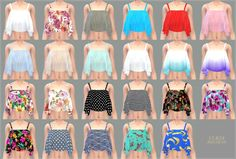 SIMS4 marigold: Ruffle Sleeveless Crop Top_러플 민소매 크롭탑_여자 의상