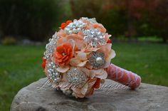 Wedding Bridal brooch bouquet. Orange and peach by LovettsBouquet