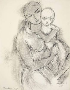 Mère et enfant - Henri Matisse 1951 French 1869-1954 charcoal and charcoal wash on paper , 20¾ x 16 in. (52.8 x 40.7 cm.)
