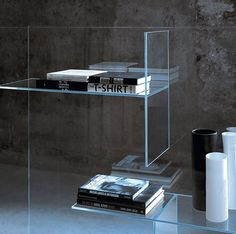 Glas Italia has made some stunning pieces using glass that ad a level of transparent dimension to the objects that inhabit these lucid planes.