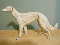 "Antique Large Cast Iron Greyhound Dog - 9.5""x17"" Screw Plugs In Place Very Nice! #Hubley"