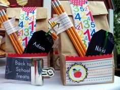 Back to School Breakfast Bar. Lunch sacks filled with school supplies double as goody bags. {Made by a Princess Parties in Style}