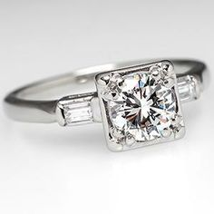 Vintage Squared Engagement Ring w/ Baguette Accents 14K White Gold - EraGem