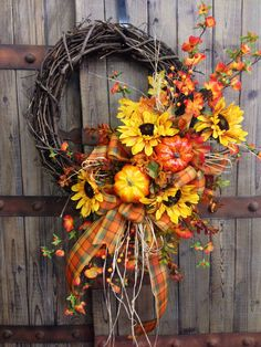 Traditional Fall Grapevine Wreath on Etsy, $65.00