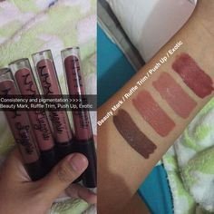 NYX Lingerie Swatches: (L-R) Beauty Mark, Ruffle Trim, Push Up, Exotic