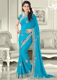 Party Wear Georgette Sky Blue Antique Work Saree