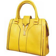 Bolsa de Couro Amarelo com Fecho Dourado. - Atelier Luiza Pannunzio