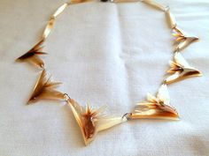 Vintage 70's mother of pearl Bird Necklace by houuseofwren on Etsy