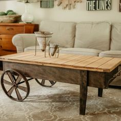 Rustic Coffee Table On Casters