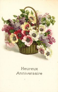 Poppies & Lilacs in Basket Antique French Postcard Chromolithograph Chromo Post Card from Vintage Paper Attic