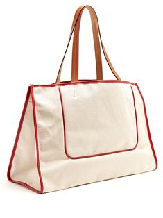 1945 leather-trimmed canvas tote   Connolly   MATCHESFASHION.COM US