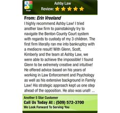 I highly recommend Ashby Law!  I tried another law firm to painstakingly try to navigate...