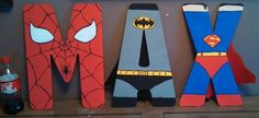 "Hand-painted 16"" tall wood superhero letters of your choice"