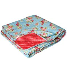 Cottage Rose Blue Quilted Double Bedspread | DotComGiftShop