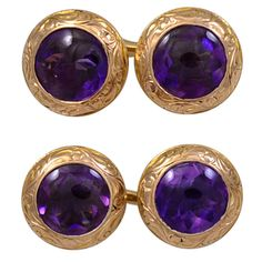 Faceted Amethyst double-sided cufflinks set in 14K gold. The bezels are handsomely engraved. The amethysts are a deep rich color. They look like a radiating starburst pattern.These are gorgeous Antique cufflinks, circa 1905